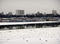 Barges becoming iced in on the Vistula river