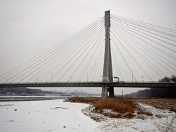 A more modern bridge across the Vistula river