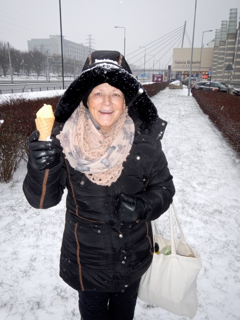 Living the dream.. having an ice-cream while it is snowing flat out!