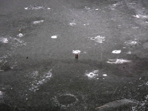 Lots of ice fishing holes on the Vistula river - These beers would be lovely and cold!