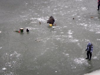 Ice fishing on the Vistula river