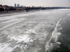 Iced over Vistula river stretches a long, long way