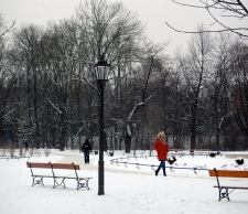 Just walking in the Krasiński park near Old Town. the red coat a great contrast to the snow