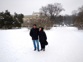 Loving the snow - in front of the Place on the Isle in Lazienki Park