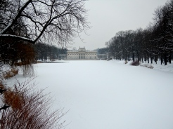 Looking down the frozen lake to the Palace on the Isle in Lazienki Park