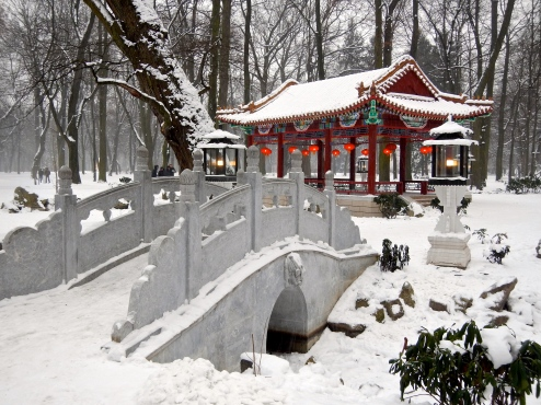 The Chinese Garden in Lazienki Park looks so different in the snow