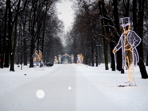 Christmas decorations in Łazienki Park