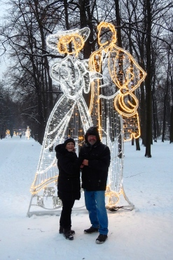 Imitating the Christmas decorations in Łazienki Park