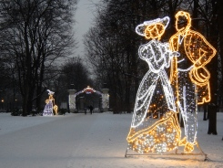 Christmas decorations inside Łazienki Park