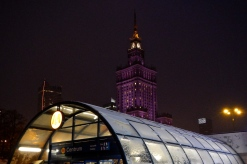 The Palace of Culture and Science (AKA the Russian building) makes a great backdrop to the underground entrance
