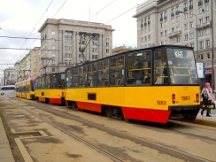 Warsaw trams in Warsaw colours of red and yellow OR yellow and red!!
