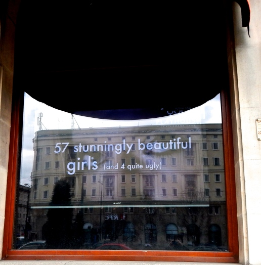 "Sign in theMen's Club window...."" 57 stunningly beautiful girls (and 4 quite ugly) - cute sense of humour"