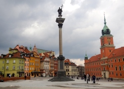Castle Square in Old town - Sigismund's Column (centre) and Royal Castle - right