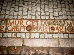 The Ghetto wall is remembered in the pavement at many locations