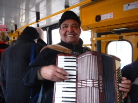 These happy buskers frequented the trams .. and yes.... we gave them money sometimes! Well... who could resist a smile like that!