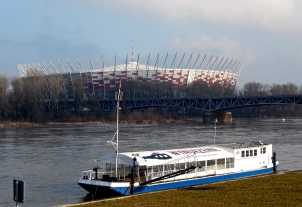 Warsaw Stadium from the opposite bank of the Vistula river