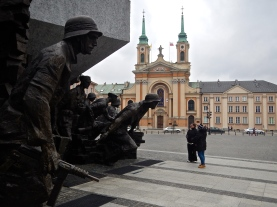 Uprising monument with Military Cathedral in background
