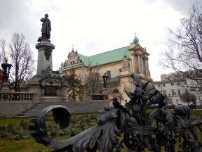 Church of the Assumption of the Virgin Mary and of St Joseph - more commonly known as the Carmelite Church, with the monument to Adam Mickiewicz (Poet and political activist) in foreground.