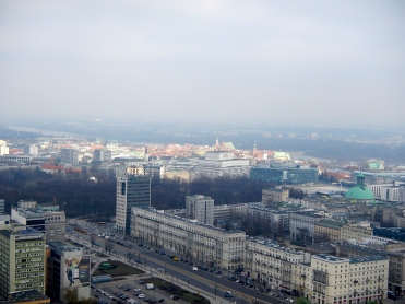 Warsaw from the viewing tower high atop the Palace of Culture and Science