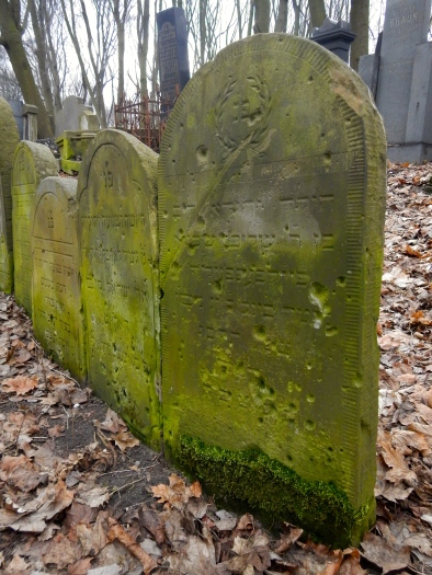 Very old gravestones in the Jewish cemetery showing the injuries of war