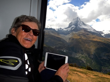 Jo with trusty iPad.. The long way up by Cog Train