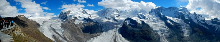 Panoramic view of one of the bigger glaciers