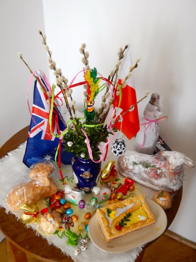 Our Easter table - Lam s are a big feature of Easter in Poland; also Pussyl Willow and colourful palms