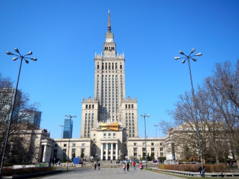 The Palace of Culture and Science with clear blue skies