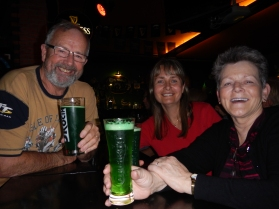 Green beer (of course)... in an Irish pub