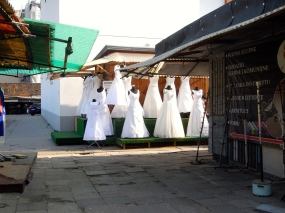 Wedding dresses for sale at Praga market