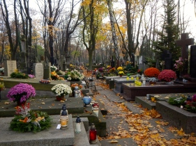 Warsaw cemetery - many flowers and visitors on All Saints Day - 1st November
