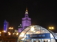 A great shot of the Palace of Culture and Science (aka The Russian Building) with the Underground entrance in foreground