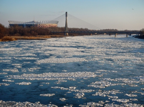 View of Warsaw stadium and the Vistila river with the beginnings of pancake ice