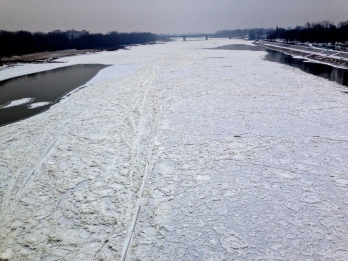 Vistula river - amazing that the water still flows so fast under the ice