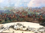 Stunning painting of Waterloo battlefield with life like relief in the foreground