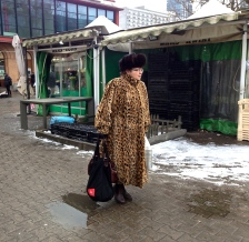 A lovely fur to go shopping at Hala Mirowska market place