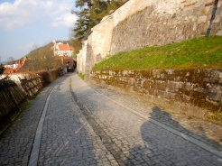 Cobbled street and medieval wall