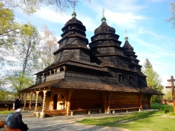 An old Orthodox church in the replica village in Lviv