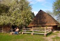 A glorious sunshiny day in the replica village in Lviv