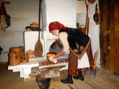Making bread the traditional way in the replica village - Lviv
