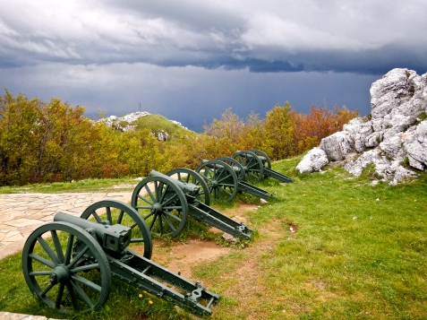 Shipka pass - high up in the Balkan mountains of Bulgaria - Part of the monument to the heroes of the Russian Turkish war of 1877 - ..... just before we rode through the biggest wettest Thunderstorm ever!!