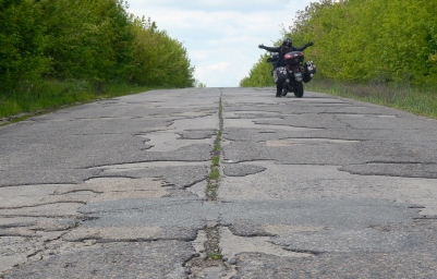 Some awesome patchwork roads in Moldova - make for tricky riding at times