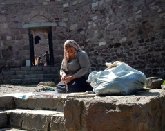 Lovely lady making and selling her wares at the wall to the old fortress - only about 3000 years old.. the walls that is! As you walk the up the stairs you 'run the gauntlet' of ladies saying 'madame.. mine please'