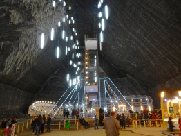 Salt mines in Romania are cavernous - they have cleverly turned it into an amusement park area. Ceiling so very high