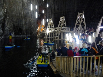 Deep in the salt mines, the salt lakes are also used for entertainment