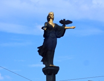 24 metre high Bronze statue of St Sofia overlooking Batemburg square in the capital of Bulgaria