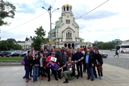 Our tour group in Sofia - capital of Bulgaria - in front of St Alexander Nevsky Cathedral, one of the largest eastern Orthodox churches in the world. It can hold 10,000 people! Built between 1904 and 1912.