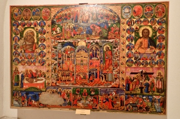 This intricate and colourful icon painting is dated 1857 - absolutely remarkable