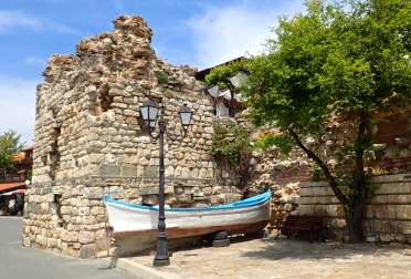 Part of the Old Town wall in Nesebar - Ancient (6th century BC) town and one of the major seaside resorts on the Bulgarian Black sea
