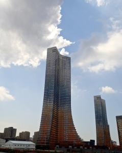 Modern Turkey reaching skywards to a very blue sky